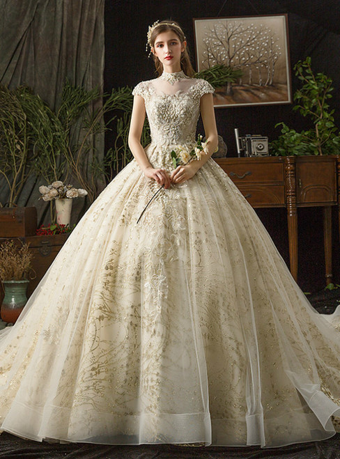Champagne Ball Gown Tulle Sequins High Neck Cap Sleeve Wedding Dress With Beading