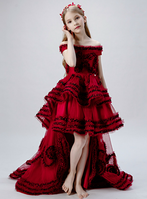 In Stock:Ship in 48 Hours Burgundy Tulle Hi Lo Off the Shoulder Flwoer Girl Dress