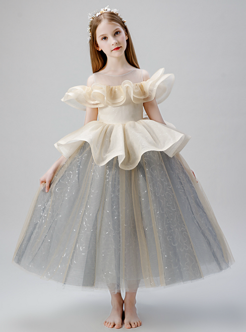 In Stock:Ship in 48 Hours Champagne And Gray Tulle Sequins Flower Girl Dress