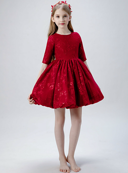 In Stock:Ship in 48 Hours Burgundy Lace Short Sleeve Flwoer Girl Dress