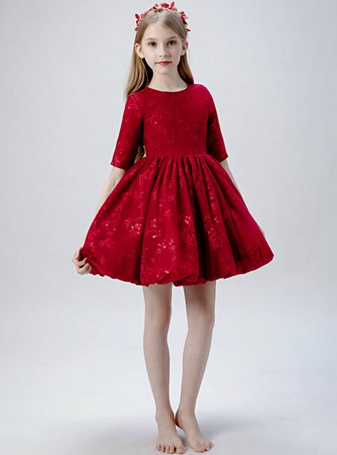 In Stock:Ship in 48 Hours Burgundy Lace Short Sleeve Flwoer Girl Dress