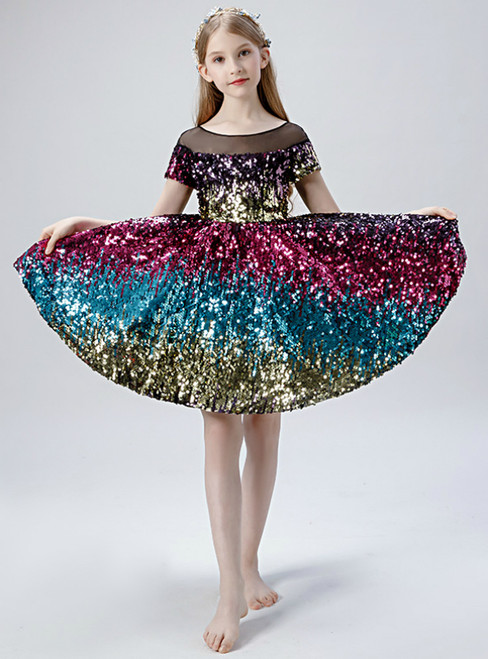 In Stock:Ship in 48 Hours Colorful Sequins Cap Sleeve Flower Girl Dress