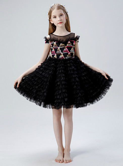 In Stock:Ship in 48 Hours Black Tulle Tiers Short Flwoer Girl Dress