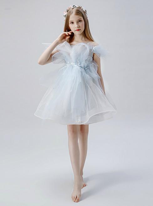 In Stock:Ship in 48 Hours Light Blue Tulle Short Flower Girl Dress