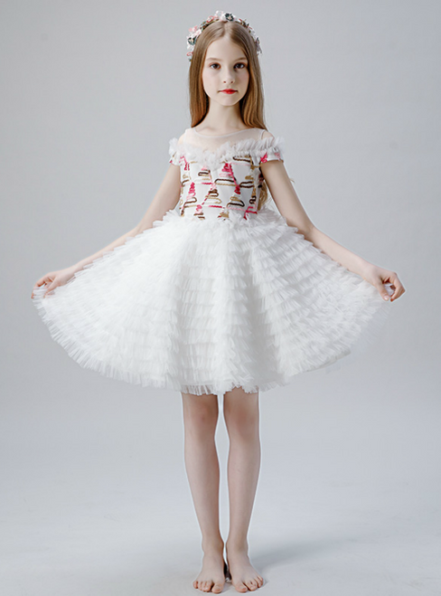 In Stock:Ship in 48 Hours White Tulle Tiers Short Flwoer Girl Dress