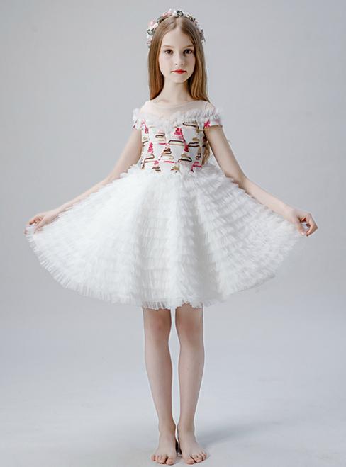 In Stock:Ship in 48 Hours White Tulle Tiers Short Flwoer Girl Dress