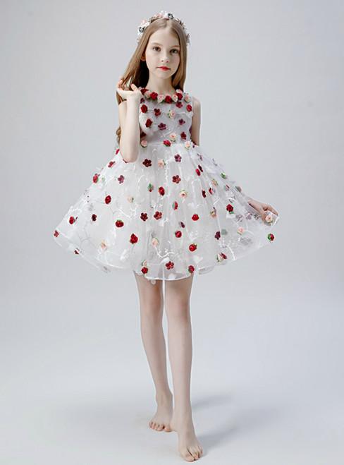 In Stock:Ship in 48 Hours White Tulle 3D Appliques Flower Girl Dress