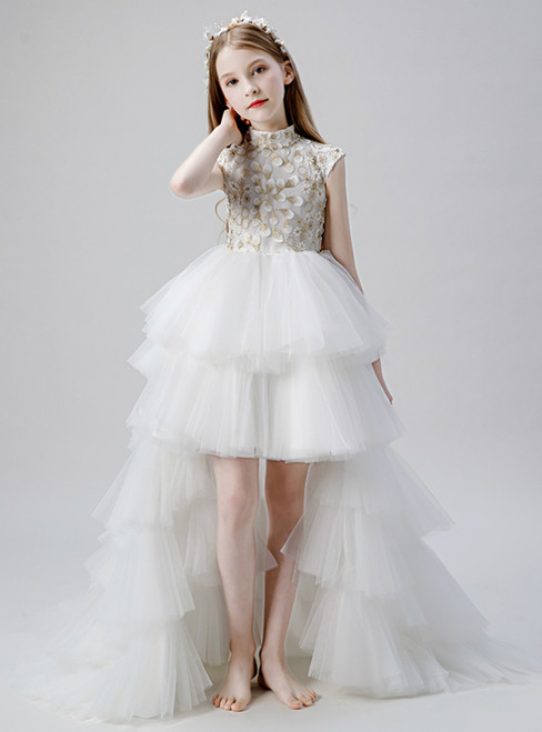 In Stock:Ship in 48 Hours White Tulle High Neck Appliques Flower Girl Dress