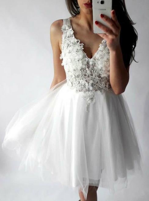 A-line Homecoming Dresses White Homecoming Dresses Applique Homecoming Dresses