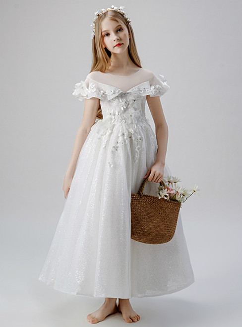 In Stock:Ship in 48 Hours White Sequins Appliques Flower Girl Dress