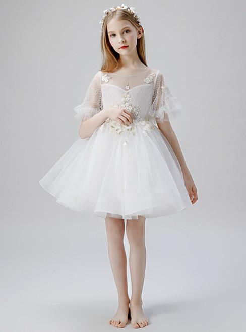 In Stock:Ship in 48 Hours White Tulle Short Appliques Flower Girl Dress