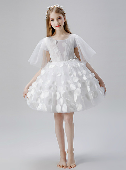 In Stock:Ship in 48 Hours A-Line White Tulle Short Flower Girl Dress