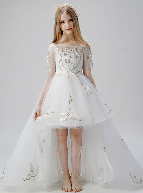 In Stock:Ship in 48 Hours White Tulle Appliques Off the Shoulder Short Sleeve Flower Girl Dress