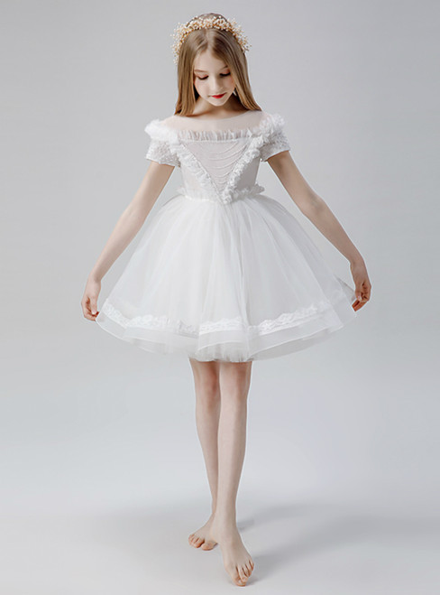 In Stock:Ship in 48 Hours White Cap Sleeve Flower Girl Dress With Bow