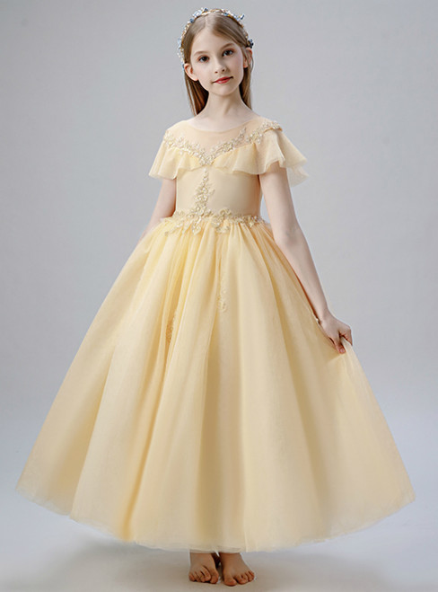 In Stock:Ship in 48 Hours Yellow Tulle Appliques Beading Flower Girl Dress
