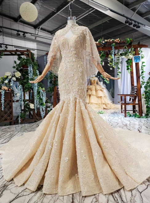 Champagne Mermaid Sequins Spaghetti Straps Luxury Wedding Dress With Shawl