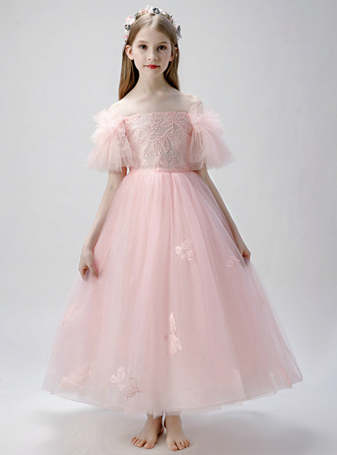 In Stock:Ship in 48 Hours Pink Tulle Off the Shoulder Flower Girl Dress