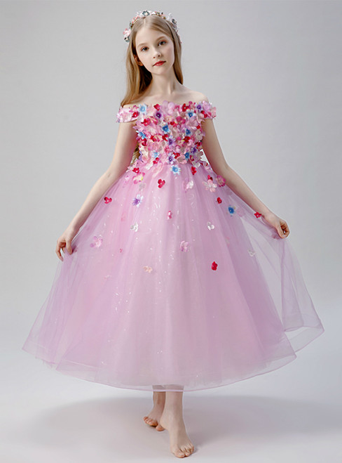 In Stock:Ship in 48 Hours Pink Tulle Appliques Princess Flower Girl Dress