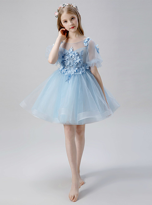 In Stock:Ship in 48 Hours Blue Tulle Puff Sleeve Flower Girl Dress