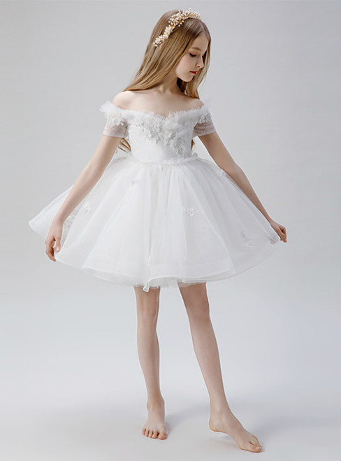 In Stock:Ship in 48 Hours White Tulle Off the Shoulder Short Flower Girl Dress