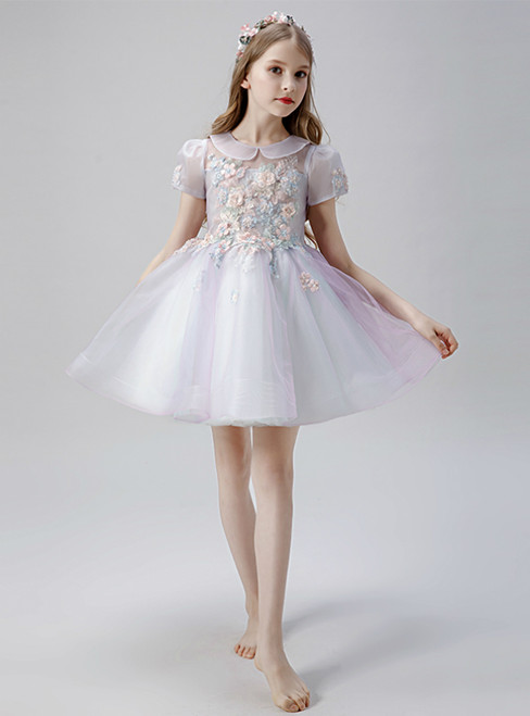 In Stock:Ship in 48 Hours Purple Tulle Cap Sleeve Appliques Short Flower Girl Dress