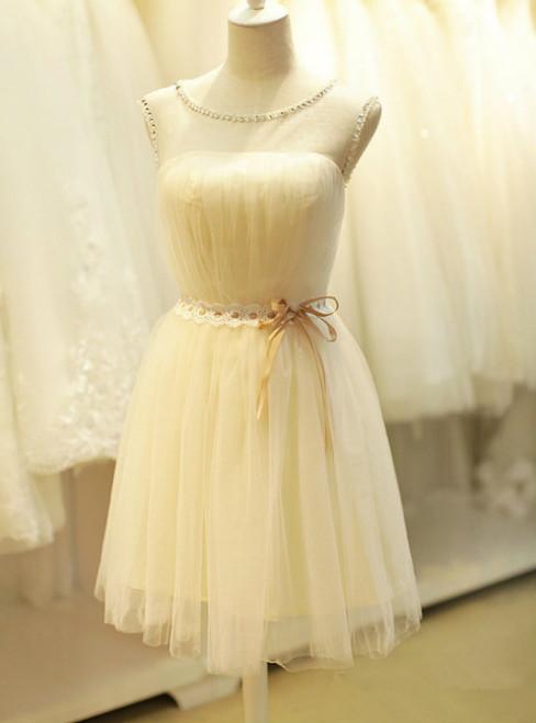 2017 A-line Homecoming Dresses Sleeveless Jewel Short/Mini Beading Customized Lace Up Dresses