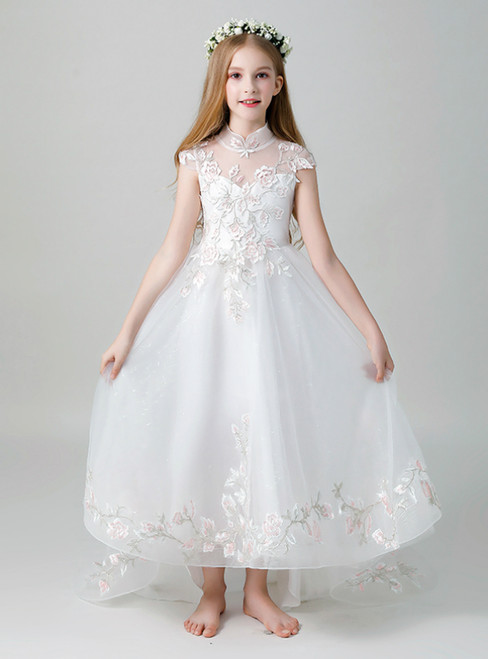 In Stock:Ship in 48 Hours White Tulle Embroidery Appliques Flower Girl Dress