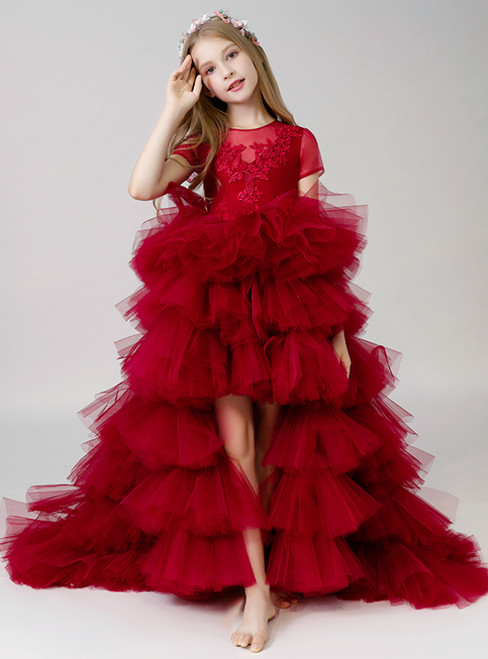In Stock:Ship in 48 Hours Burgundy Hi Lo Tulle Appliques Flower Girl Dress