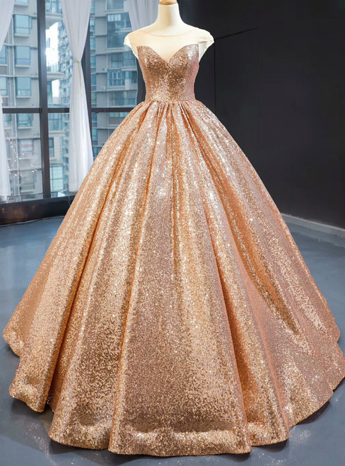 Gold Ball Gown Seuqins Cap Sleeve Long Floor Length Prom Dress