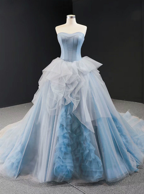 Blue Ball Gown Tulle Sweetheart Sleevelss Princess Prom Dress With Train