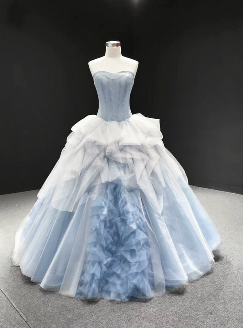 Blue Ball Gown Tulle Sweetheart Sleevelss Princess Prom Dress