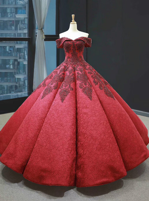 Burgundy Ball Gown Lace Off the Shoulder Appliques Beading Prom Dress