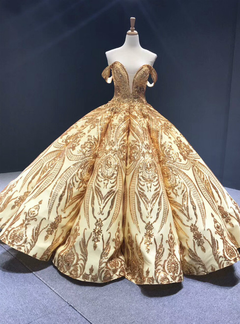 Gold Ball Gown Sequins Off the Shoulder Luxury Prom Dress