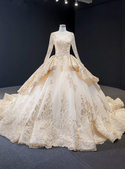 Champagne Ball Gown Satin Sequins Long Sleeve Wedding Dress With Train