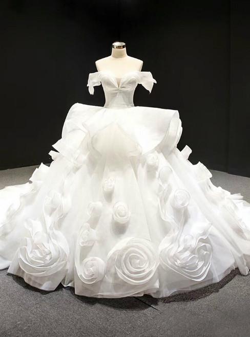 White Ball Gown Off the Shoulder Organza Luxury Wedding Dress