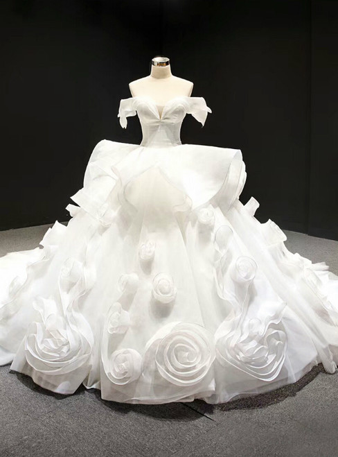 White Ball Gown Off the Shoulder Organza Luxury Wedding Dress