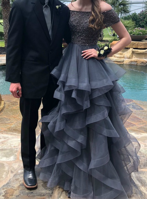 A-Line Gray Tulle Off the Shoulder Short Sleeve Beading Prom Dress