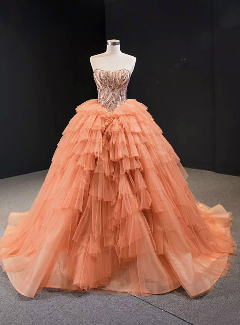 Orange Tulle Ball Gown Sequins Sweetheart Sweet 16 Prom Dress
