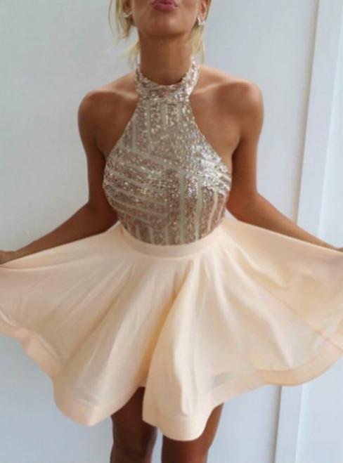 2017 A-line Homecoming Dresses Sleeveless Halter Short/Mini Sequin