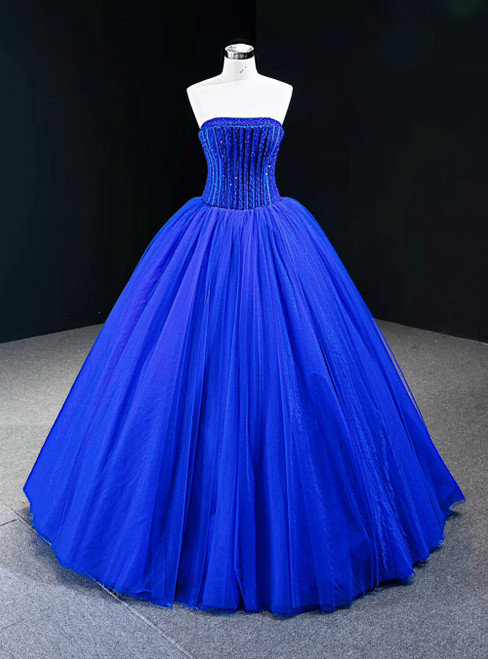Royal Blue Ball Gown Tulle Strapless Floor Length Beading Prom Dress