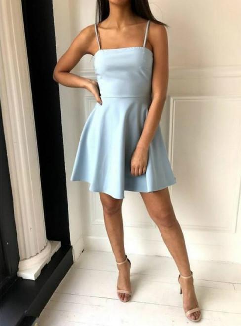 A-Line Blue Satin Spaghetti Straps Mini Homecoming Dress