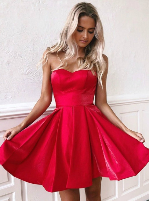 A-Line Simple Red Satin Sweetheart Sleeveless Short Homecoming Dress