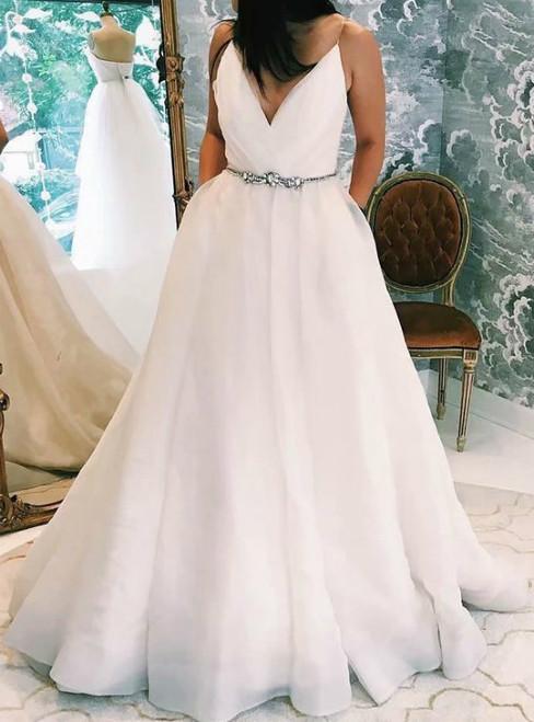 A-Line White V-neck Organza Cheap Formal Wedding Dress With Pocket