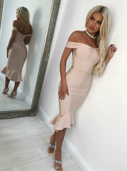 Pink Mermaid Off the Shoulder Satin Tea Length Homecoming Dress