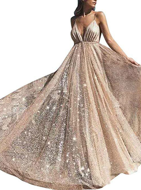 A-Line Gold Tulle Sequins Spaghetti Straps Backless Prom Dress