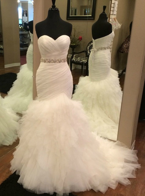 White Mermaid Tulle Sweetheart Pleats Wedding Dress With Sash