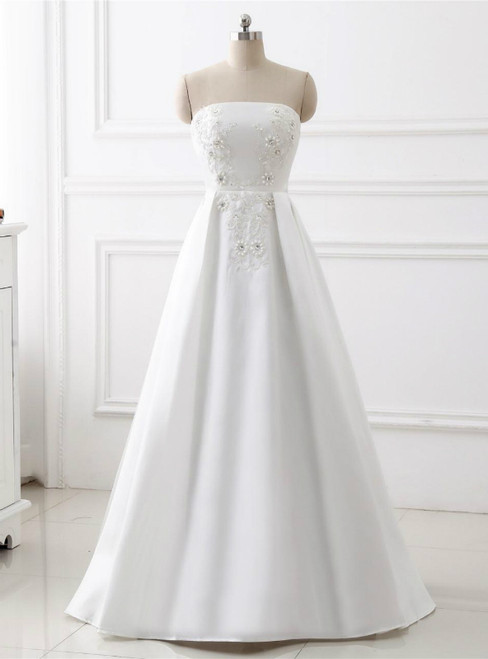 A-Line Satin White Strapless Appliques Beading Floor Length Wedding Dress