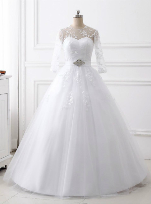 White Ball Gown Tulle Long Sleeve Backless Wedding Dress With Belt