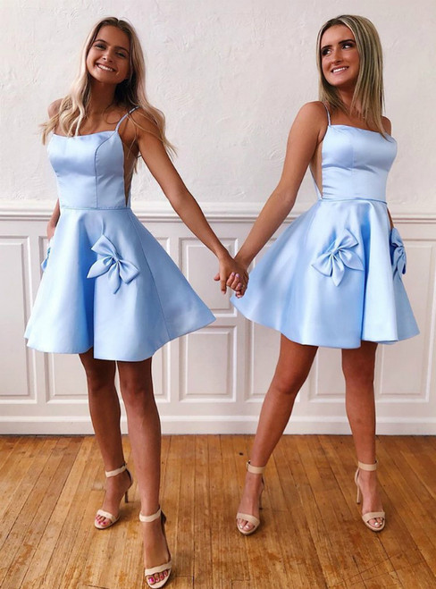 A-Line Blue Satin Spaghetti Straps Homecoming Dress With Pocket