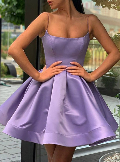 A-Line Purple Satin Spaghetti Straps Formal Homecoming Dress